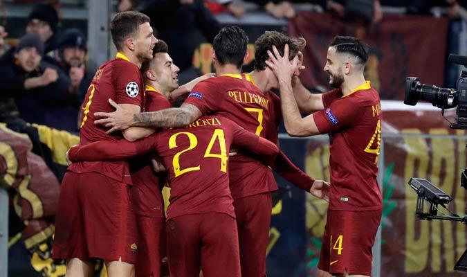 La Roma celebrando el primer tanto/ Foto AP