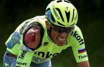 Contador sufrió dos caídas al inicio del Tour de Francia