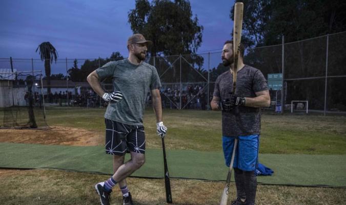 Ike Davis y Cody Decker en los entrenamientos /Foto AP
