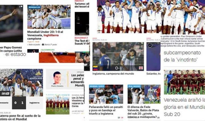 Venezuela cayó en en la final del Mundial Sub-20 ante Inglaterra por 0-1 y muchos portales web nombraron a la Vnotinto