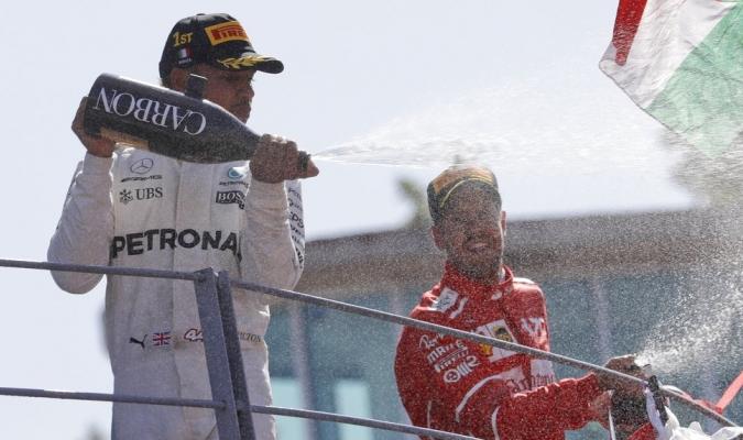 Hamilton celebra su victoria /Foto AP