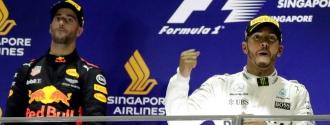 Hamilton celebrando su victoria /Foto AP