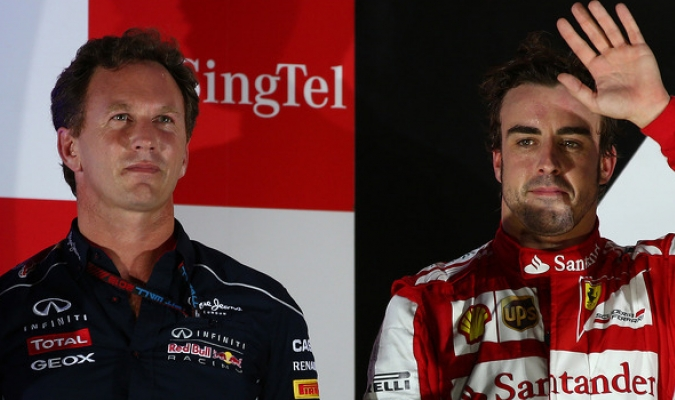 Alonso y Christian Horner / Cortesía