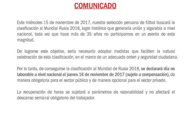 El comunicado enviado por el Ministerio del trabajo peruano| @historiador