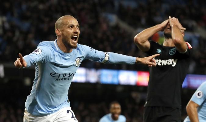 David Silva celebra el gol de la victoria | AP