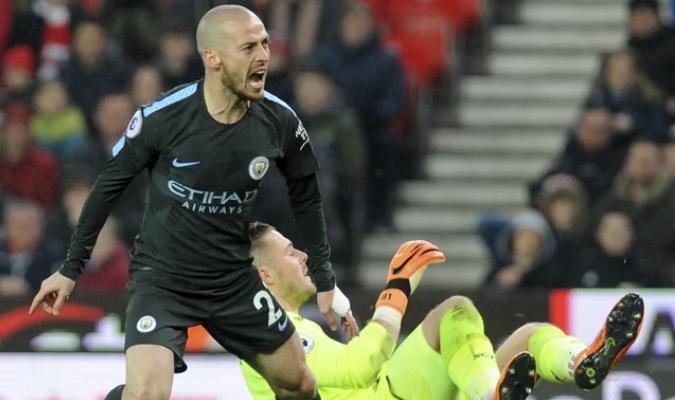 David Silva celebra su gol frente al Stoke City / AP