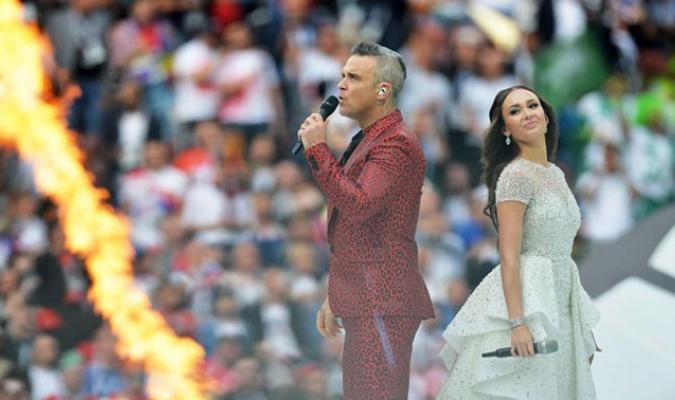 La ceremonia de apertura estuvo a cargo de Robbie Williams y Aída Garifullina