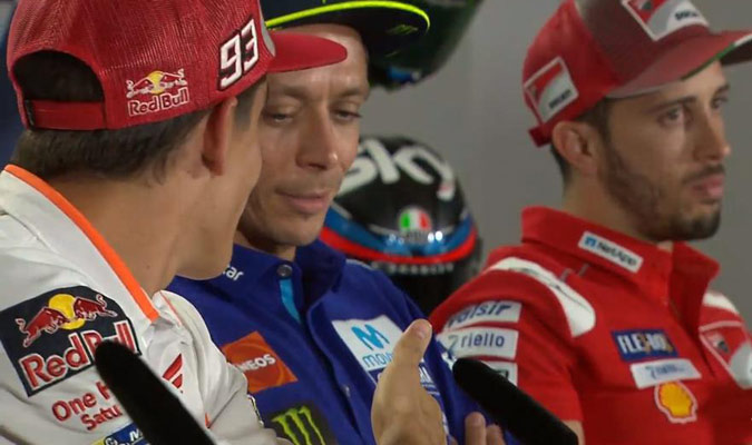Rossi no quiso darle la mano al español/ Foto Cortesía