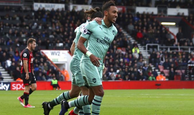 Aubameyang celebrando su gol con los 'Gunners' / Foto: AP
