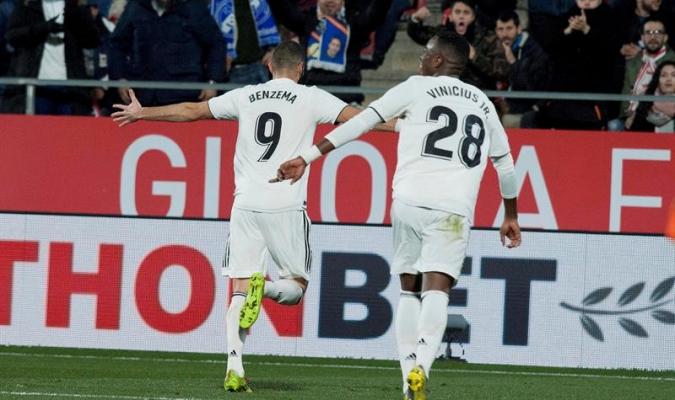 Benzema marcó doblete ante Girona   Foto: EFE