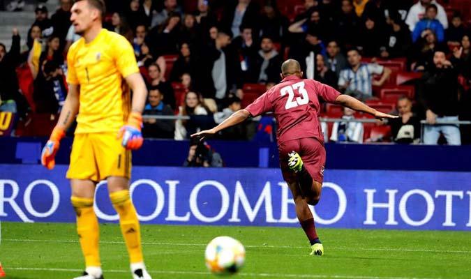 El delantero celebró en el Wanda Metropolitano || Foto: EFE