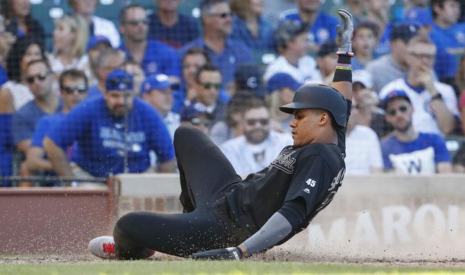 Soto anota en un doble de Howie Kendrick ante los Cachorros / Foto: AP