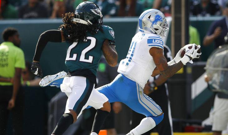 Marvin Jones atrapa un pase de touchdown frente a Sidney Jones / Foto: AP