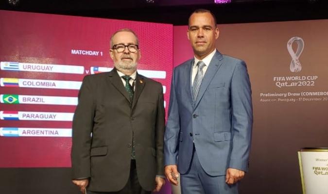 Rafael Dudamel y Laureano González.en sorteo de las eliminatorias sudamericanas en Paraguay / Foto: