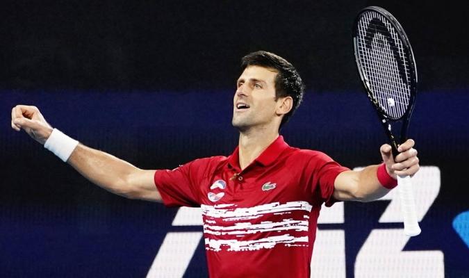 Djokovic celebra victoria en la ATP Cup / Foto: EFE