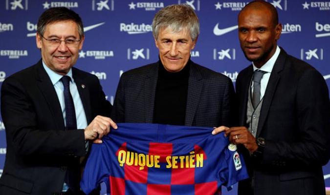 Setiéne estuvo acompañado por Bartomeu y Abidal/ Foto EFE