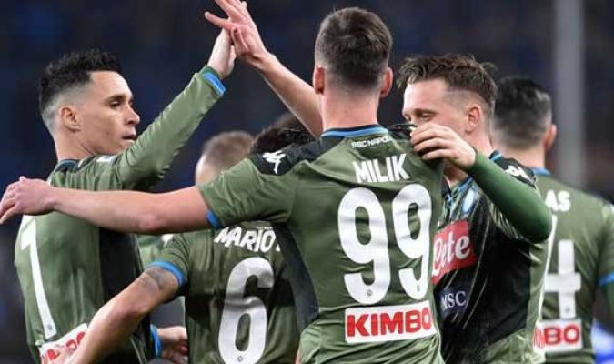 Celebración del Nápoles tras vencer a la Sampdoria
