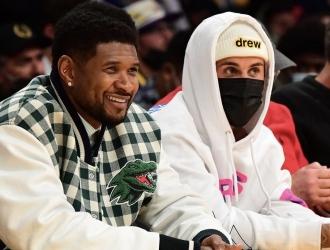 Usher y Justin Bieber ven en primera fila a Los Ángeles Lakers / NBA LATAM