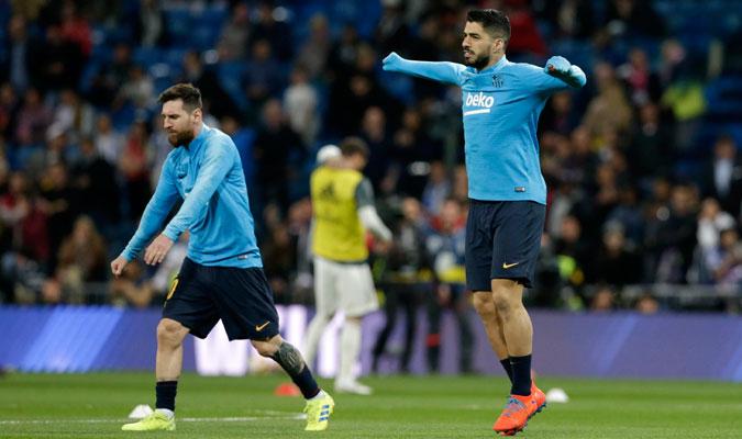 El Barcelona entrenando antes del partido/ Foto AP
