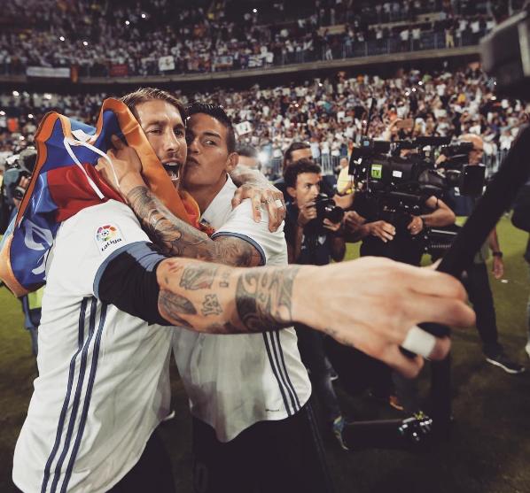 James y Ramos celebraron en La Rosaleda