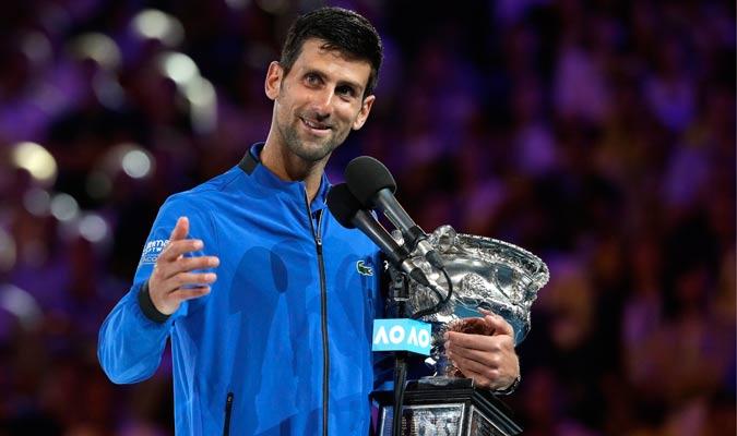 Djokovic en su discurso de premiación/ Foto AP
