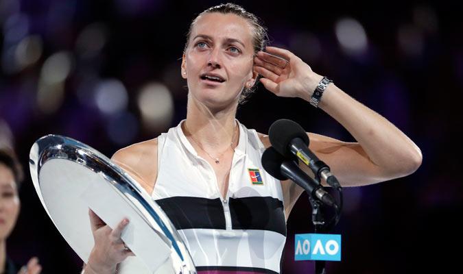 Kvitova en su discurso/ Foto AP