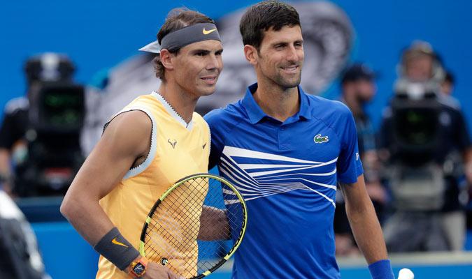 Ambos tenistas posando antes de jugar/ Foto AP