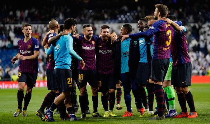 El Barça celebró por todo lo alto el triunfo/ Foto AP