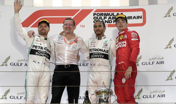 El podio final en el Gran Premio de Bahréin/ Foto AP