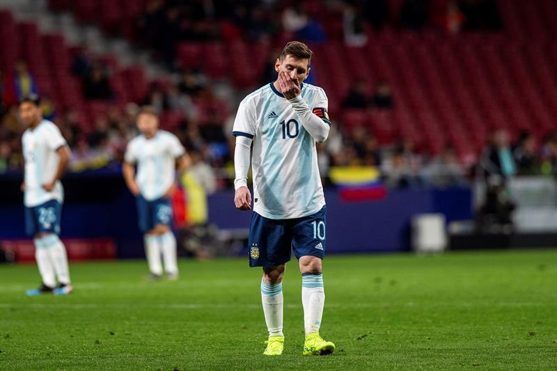 El delantero de Argentina Leo Messi durante el encuentro amistoso que Argentina y Venezuela disputan esta noche en el estadio Wanda Metropolitano, en Madrid/ Foto: EFE