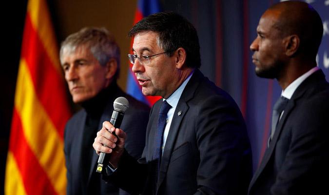 Bartomeu en su discurso de bienvenida a Setién/ Foto EFE