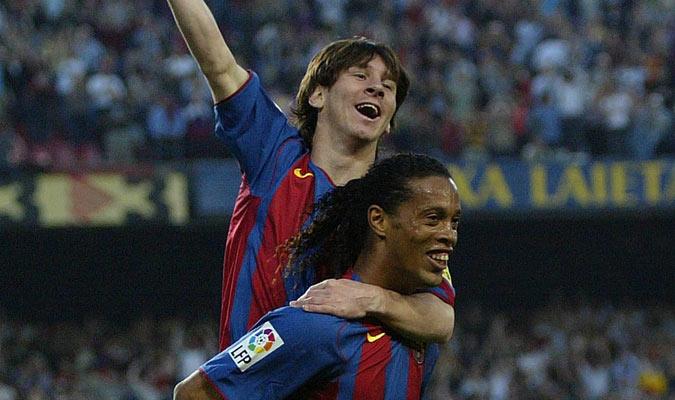 Messi celebró con Ronaldinho su primer gol con el Barça/ Foto Cortesía